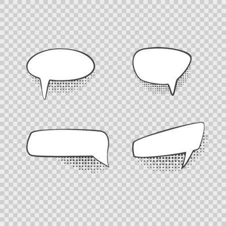 Comic Speech Bubbles Signs Black Thin Line Icon Set. Vector Stok Fotoğraf - 137681415