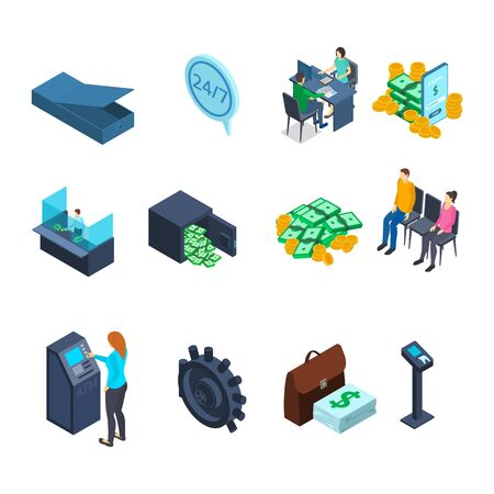 Financial Banking Sign 3d Icon Set Isometric View. Vector