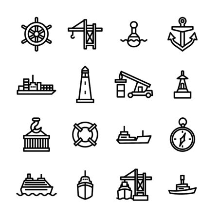 Marine Port Sign Black Thin Line Icon Set Enthält Anker, Container, Boot, Kran und Kompass. Vektor-Illustration von Icons Vektorgrafik