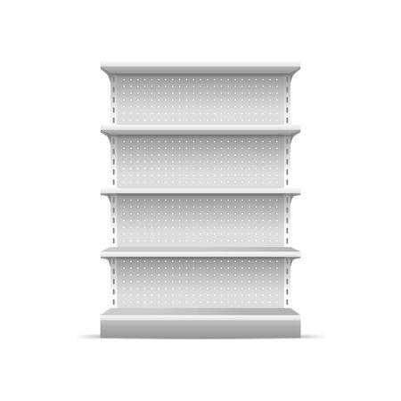 Maqueta de plantilla vacía de estantes de supermercado en blanco blanco detallado realista 3d para merchandising. Ilustración de vector de estantería