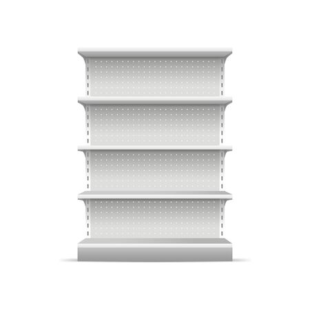 Realistic 3d Detailed White Blank Supermarket Shelves Empty Template Mockup for Merchandising. Vector illustration of Shelve Ilustração