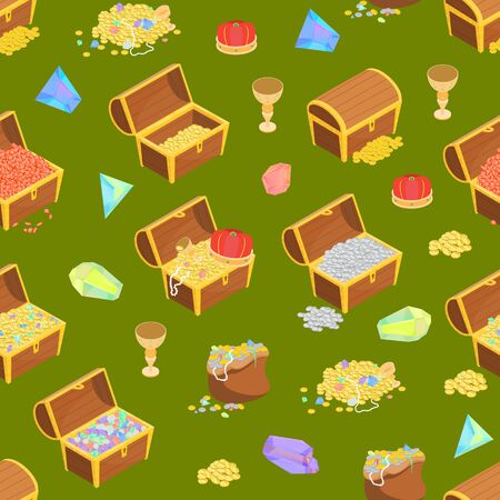 Treasure Seamless Pattern Background 3d Isometric View. Vector