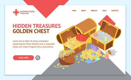 Treasure Landing Web Page Template Isometric View. Vector