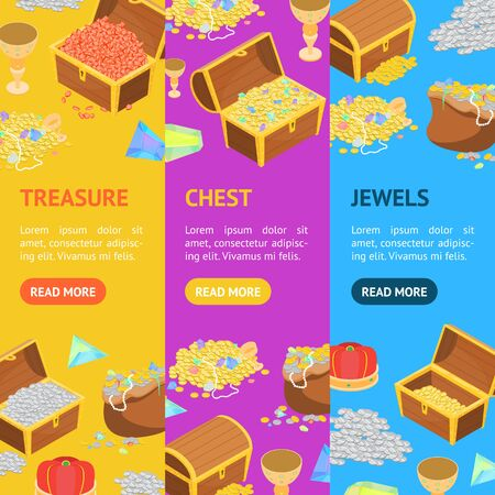 Treasure with Wooden Chest Banner Vecrtical Set 3d Isometric View Include of Golden Coin and Gem. Vector illustration Illustration