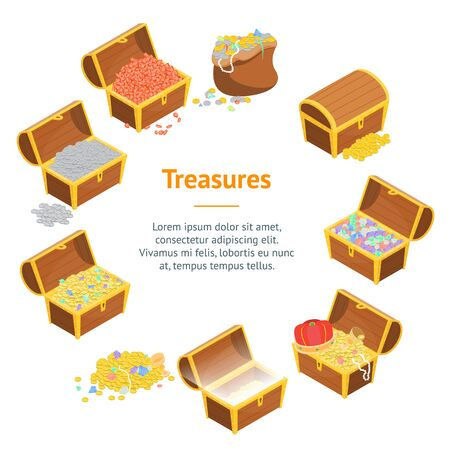 Treasure Banner Card Circle 3d Isometric View. Vector Illustration