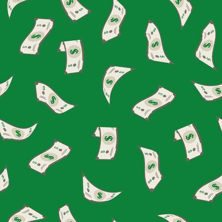 만화 떨어지는 달러 돈 개념 완벽 한 패턴 배경. 벡터 벡터 (일러스트)