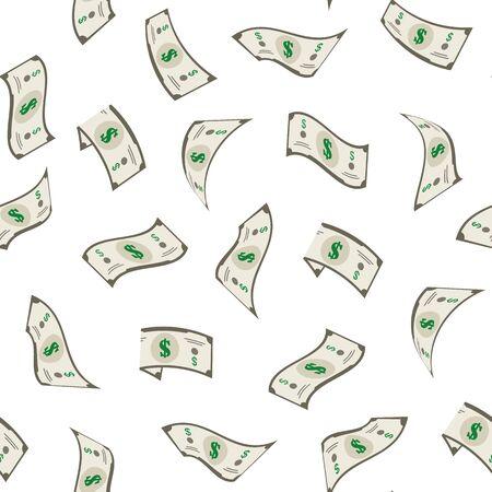 Cartoon Falling Dollars Money Concept Seamless Pattern Background. Vector