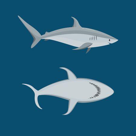 Cartoon Blue Characters Shark Icon Set on a Blue. Vector