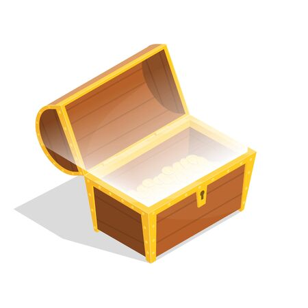 Wooden Chest Sign 3d Icon Isometric View. Vector Illustration