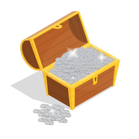 Treasure with Wooden Chest Sign 3d Isometric View Include of Silver Coin and Gem. Vector illustration