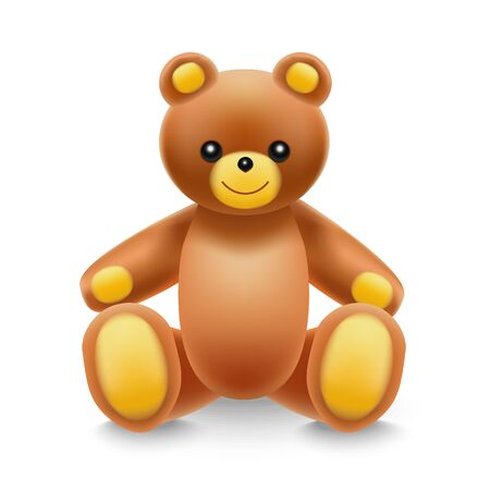 Realistische detaillierte 3D-Baby-Spielzeug-Teddybär. Vektor