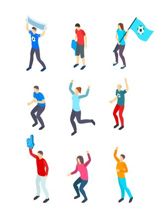 People Fans Football 3d Icon Set Isometric View. Vector Çizim