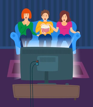 Cartoon Color Characters People and Movie Night Concept. Vector