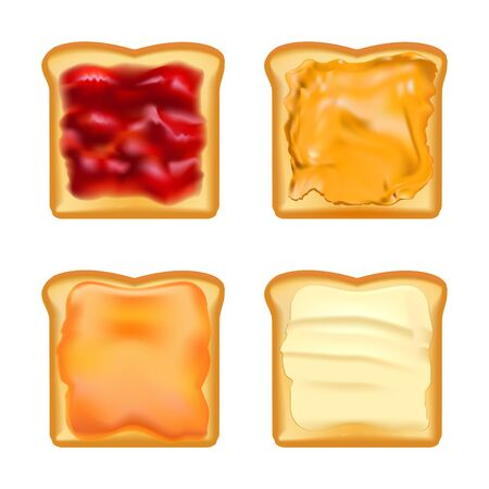 Realistic Detailed 3d Toasts with Jams Set. Vector Illustration