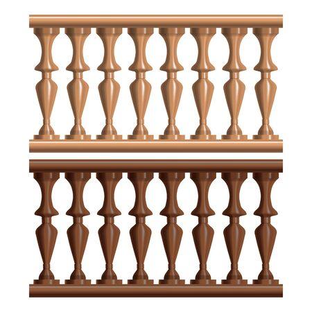 Realistic Detailed 3d Vintage Railing Wood Set. Vector Stock Illustratie