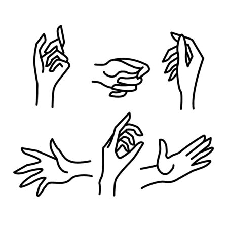 Woman Hand Sign Black Thin Line Icon Set Different Gesture and Movement. Vector illustration of Icons Ilustracja
