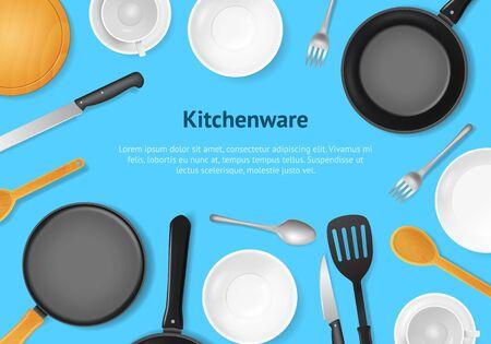Realistic 3d Detailed Kitchenware or Kitchen Utensils Card. Vector 일러스트