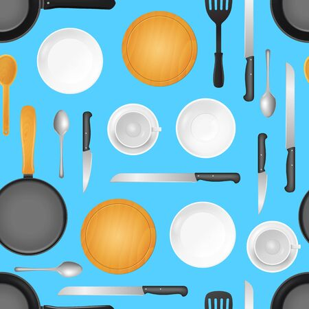 Realistic 3d Detailed Kitchenware or Kitchen Utensils Seamless Pattern Background. Vector