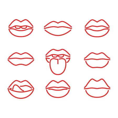 Lips Red Signs Thin Line Icon Set. Vector