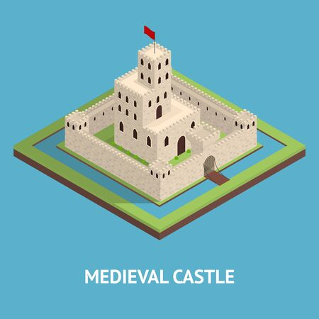 Medieval Kingdom Concept Card 3d Isometric View. Vector