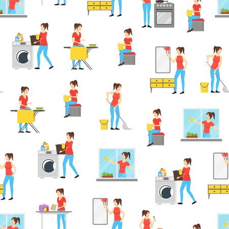 Cartoon Color Characters Woman Housewife Seamless Pattern Background. Vector