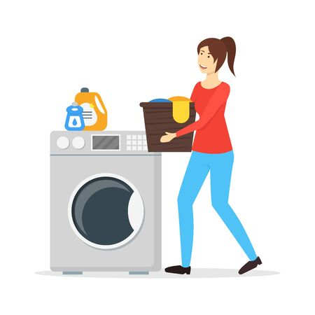 Cartoon Color Character Woman Housewife Concept. Vector