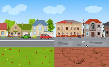 Cartoon Color Rich and Poor City Landscape Background Scene. Vector