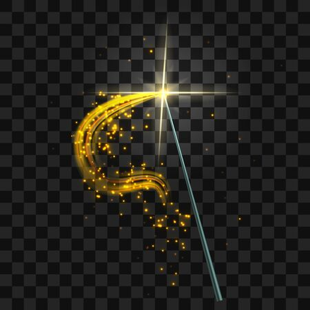 Realistic 3d Detailed Magic Wand with Magical Sparkle Golden Trail. Vector