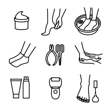 Foot Care Sign Black Thin Line Icon Set. Vector Illusztráció