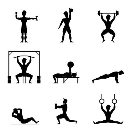 Cartoon Silhouette Black Characters Muscular Man Icon Set Active Sport Concept Element Flat Design Style. Vector illustration of Icons