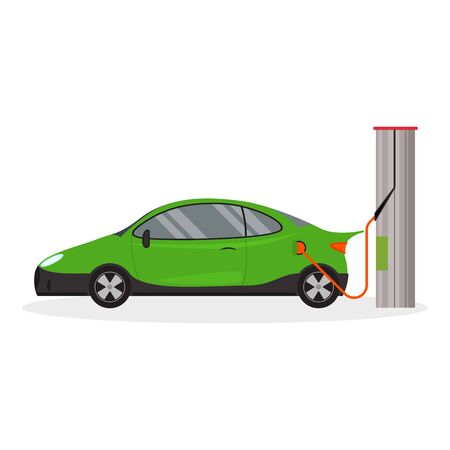 Cartoon Electric Car Side View on a White Energy Technology Concept Element Flat Design Style. Vector illustration
