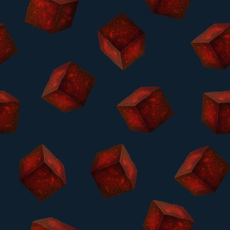Realistic 3d Detailed Charcoal Cubes for Hookah Pipe Seamless Pattern Background. Vector