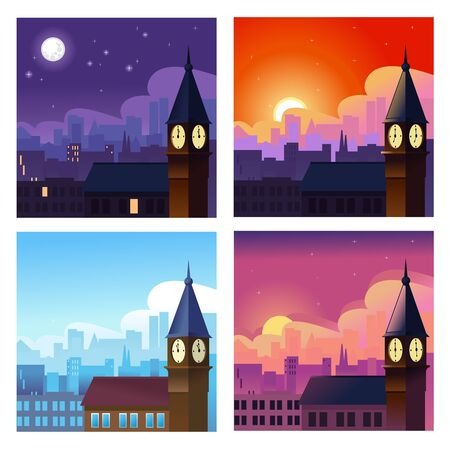 Cartoon Different Time of The Day Concept Banner Set. Vector 向量圖像