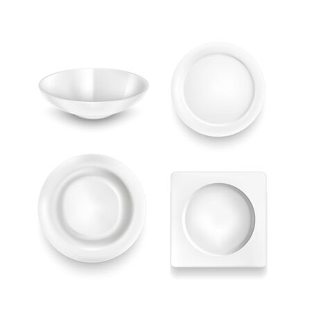 Realistic Detailed 3d White Blank Plates Empty Template Mockup Set. Vector illustration of Mock Up Domestic Dishware Plate