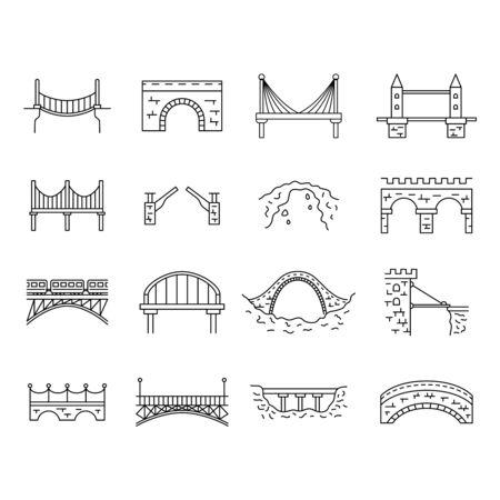 Bridge Sign Black Thin Line Icon Set. Vector