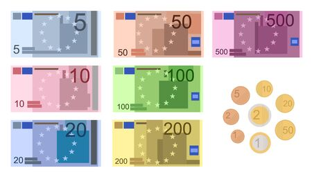 Cartoon Color Euro Banknotes Icon Set Include of Different Value. Vector illustration of Currency Money Icons