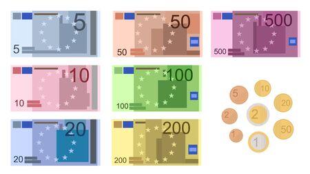 Jeu d'icônes de billets en euros de couleur de dessin animé comprennent une valeur différente. Illustration vectorielle d'icônes d'argent monnaie