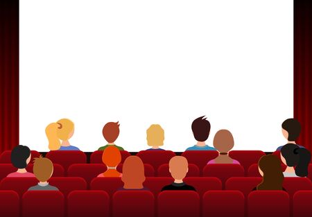 Cartoon Color Characters People in Movie Theater Concept. Vector Stock Illustratie