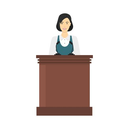 Cartoon Color Character Person Woman with Conference Speech Tribune Concept. Vector 矢量图片