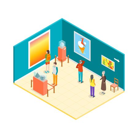Museum Hall Interior Isometric View. Vector