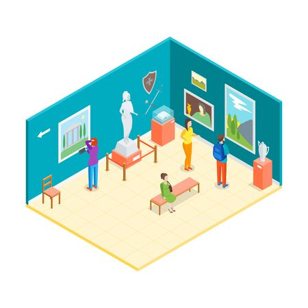 Museum Hall Interior 3d Isometric View . Vector 矢量图像