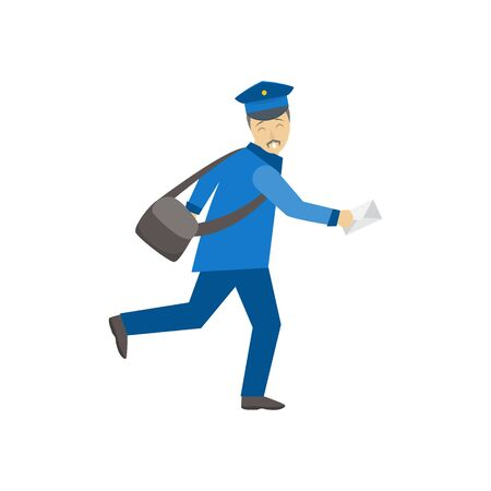 Cartoon Color Postman Male Character Person. Vector