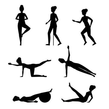 Cartoon Silhouette Black Senior Exercise of Female Characters. Vector