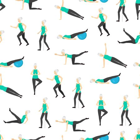 Cartoon Color Senior Exercise of Female Characters Seamless Pattern Background . Vector Ilustracja