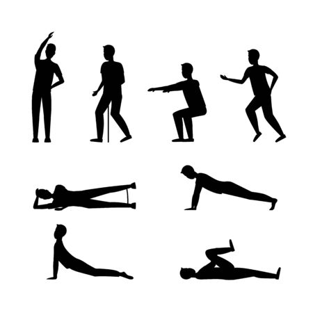 Cartoon Silhouette Black Senior Exercise of Male Characters. Vector