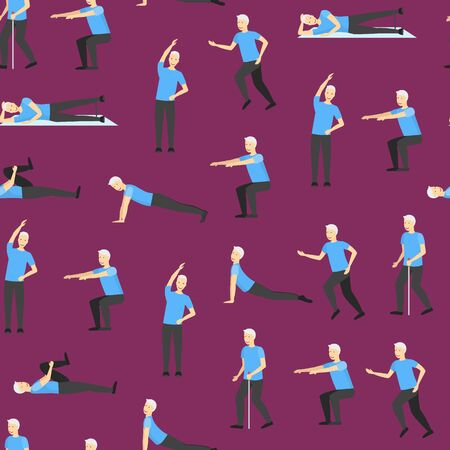 Cartoon Color Senior Exercise of Male Characters Seamless Pattern Background . Vector Vektorové ilustrace