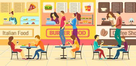 Cartoon Color Characters People and Food Court Restaurants Concept. Vector Ilustração