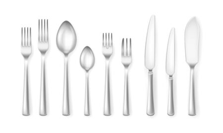 Realistic Detailed 3d Cutlery Set for Home or Restaurant. Vector