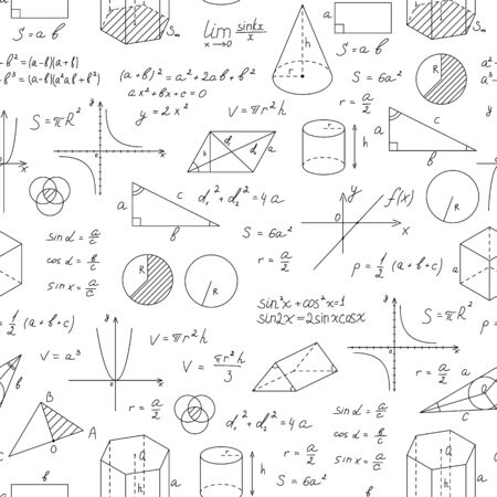 Blackboard Mathematical with Thin Line Shapes Seamless Pattern Background. Vector Vektorové ilustrace
