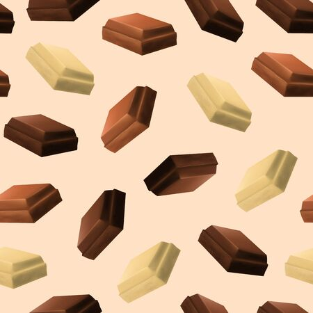 Realistic 3d Detailed Chocolate Pieces Seamless Pattern Background. Vector